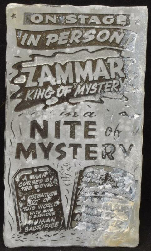 ORIGINAL 1960s Horror Movie Printing Plate Monster Zammar King Nite of Mystery