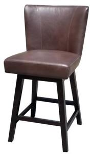 Distress Brown or Black Leather Swivel Counter Stool for Kitchen