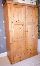 John Lewis - Solid pine large wardrobe with 2 drawers