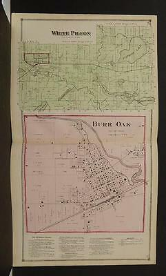 Michigan St Joseph County 1872 White Pigeon Township, Burr Oak Double Page Y9#05