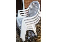 4 quality solid plastic patio chairs