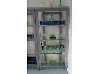 Glass shelving unit.