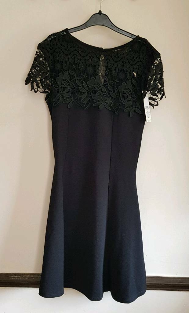 New Lipsy Black Skater Dress Size 10  7967f6cc9