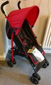 New Fisher-Price Red & Black Stroller / Pushchair with Footmuff