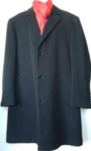 XL CALVIN KLEIN Mens 46T Large Tall LONG WOOL WINTER COAT Black 46 48