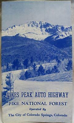 PIKES PEAK AUTO HIGHWAY COLORADO SOUVENIR TOURISM BROCHURE MAP 1959 VINTAGE