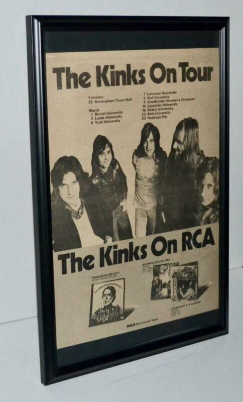 THE KINKS 1974 ON TOUR WITH DATES LISTED FRAMED PROMOTIONAL ORIGINAL POSTER / AD