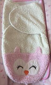 chick pea pink owl girls swaddle blanket 3-6 months