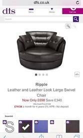 Black Leather Swivel Chair & Foot Stool