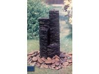 NEW & BOXED 58cm high Slate 4-Tier Outdoor Water Feature Fountain including Pump