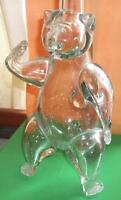 RARE hand blown glass Bear wine decanter
