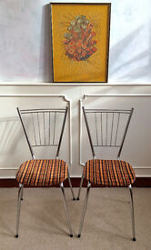 2 Retro Vintage 1950's Mid 20th Century Tubmenager Chrome French Dining Chairs Orange Seats