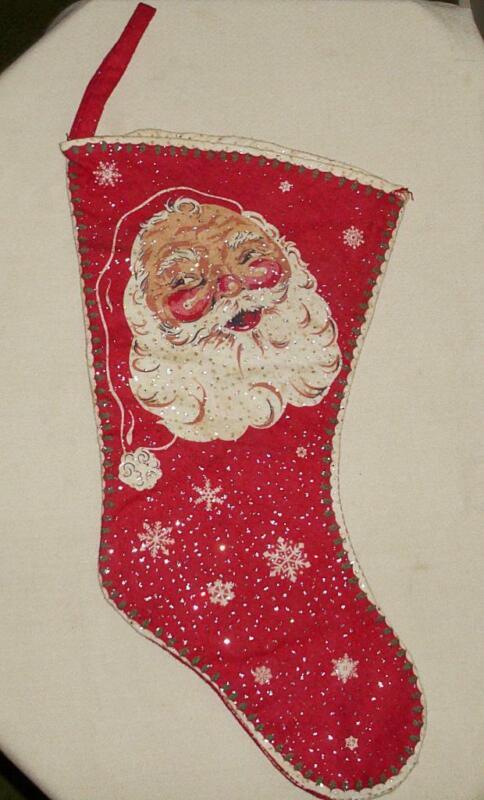 """VTG HANDMADE CHRISTMAS RED & WHITE SANTA FLANNEL STOCKING 18.5"""""""
