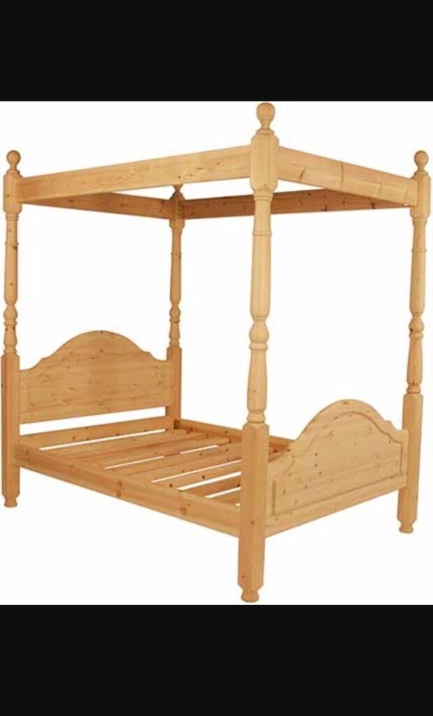 Double 4 poster bed frame for sale. Solid pine wood. PICK UP ONLY ...