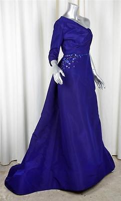 OSCAR DE LA RENTA Womens Blue Silk Beaded One-Shoulder Formal Gown Long Dress 6