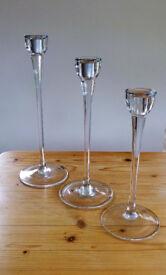 3 Glass Candlesticks - Tall stem, elegant clear glass 3 sizes.