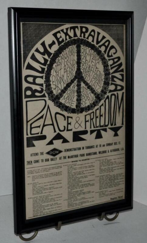 PROTEST DOW DEMONSTRATION PEACE & FREEDOM CONCERT 1967 FRAMED POSTER / AD