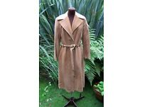 Vintage Haute Couture RENÈ DUPONT Real Leather Suede Tan Coat. Size 10/12, EU 38