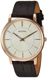 Bulova Leather Mens Watch 97A126