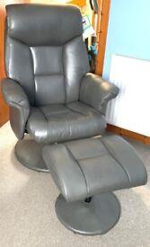 Lark Manor Pantin Swivel Armchair with Footstool Comfy Chair