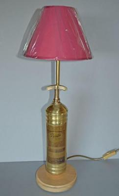 Vintage Brass Pyrene Fire Extinguisher - Table Lamp with Recycled Oak Base.