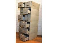 1970s steel twelve draw cabinet card index holder drawer office desk industrial antique vintage
