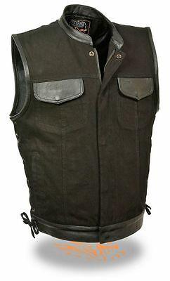 Mens Sons Of Anarchy Black Denim Vest W Side Lace Leather Trim   2 Gun Pockets