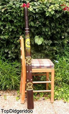 "47""120cm Teak DIDGERIDOO Sun Dot-Painting +Bag +Beeswax +FREE World Shipping"