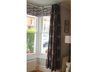 John Lewis lined curtains. To fit bay or other large window. Total width: 300cm. Drop: 235cm.