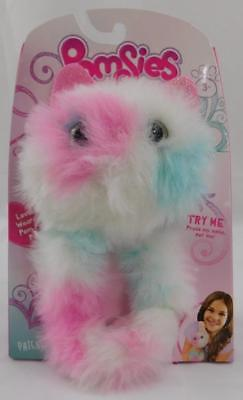 Pomsies Interactive Plush Toy New Patches Pink White Blue