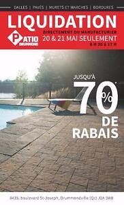 Liquidation Pavés, Dalles, Murets, Bordures - 70% de rabais
