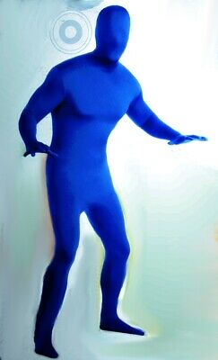 Mens Blue Tight Suit Halloween Costume 2nd Skin Suit Smurf Bodysuit M Large NEW - Skin Tight Halloween Costumes