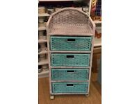 Upcycled wicker drawer unit - perfect for bathroom or conservatory