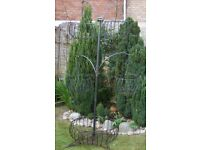 4-arm tree cascade hanging basket patio stand planter with large base