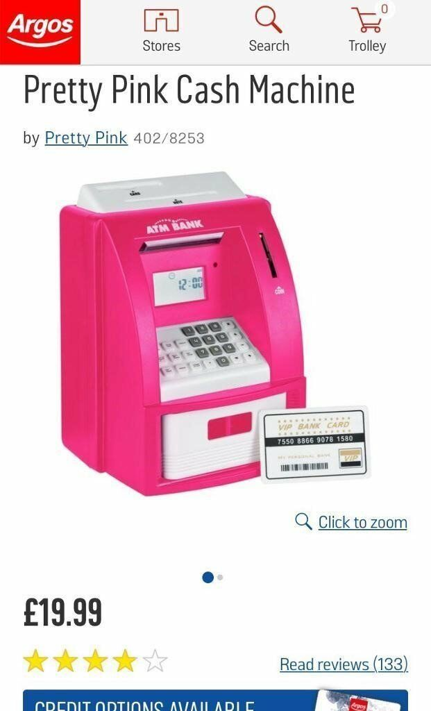 Pink ATM Electronic Piggy Bank Cash Machine - Whitefield