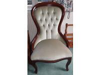 Lovely upholstered wood frame chair