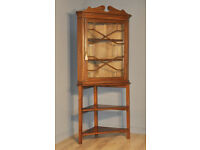 Attractive Tall Antique Edwardian Stained Pine Corner Display Cabinet On Stand