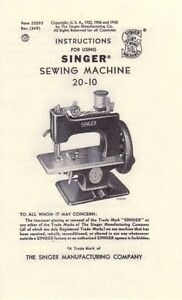 Singer 20-10 Toy Childs Sewhandy Sewing Machine INSTRUCTIONS MANUAL