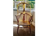 Ercol blue label chairmakers armchair with cushions