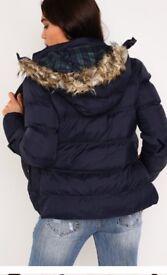 Navy hood puffer jacket