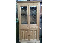 Large Pine Double Display Cabinet