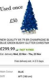 Blue glitter tip tree. Used once