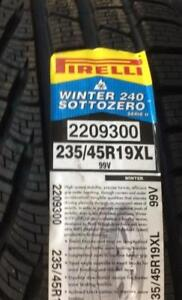 TWO TIRES NOT FOUR BRAND NEW WITH LABELS HIGH PERFORMANCE ' V ' RATED PIRELLI 235/45/19 WINTER TIRE SET OF TWO
