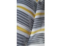 6 METRES Saffron Grey Yellow Stripe Curtain Upholstery Fabric BRAND NEW 100% Cotton