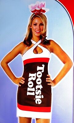 Tootsie Roll Halloween Costume (Womens Sexy Candy TOOTSIE ROLL Chocolate Halloween Costume Dress S M L 4 6 8)