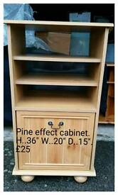 Pine affect side cabinet