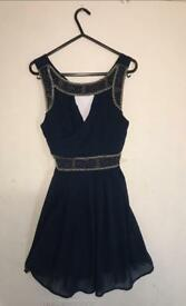Women's navy embroidered classy detailed dress , would be great for Christmas