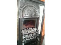Electric fireplace with surrounding