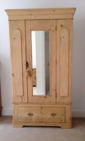Stunning Victorian Antique Stripped Old Vintage Pine Mirrored Mirror Wardrobe