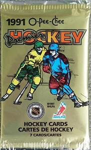 1990-91 OPC PREMIER sealed packs .... 7 HOCKEY CARDS per pack
